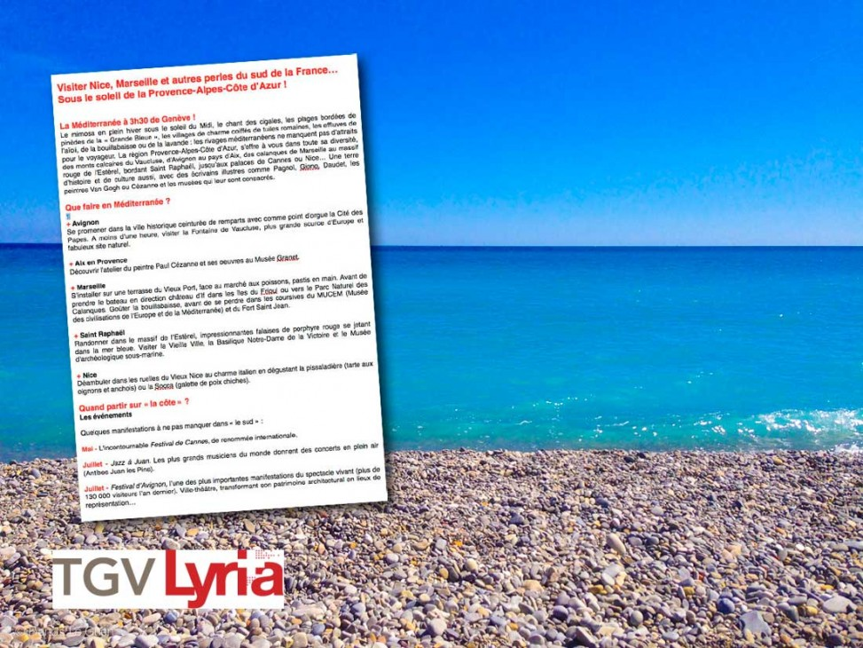 Tgv Lyria Visit Nice Marseille And Other Pearls Of The